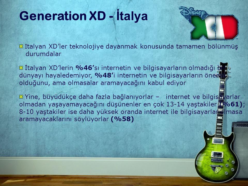 Generation XD - İtalya İ talyan XD'ler teknolojiye dayanmak konusunda tamamen bölünmüş durumdalar İtalyan XD'lerin %46'sı internetin ve bilgisayarların olmadığı bir dünyayı hayaledemiyor, %48'i internetin ve bilgisayarların önemli olduğunu, ama olmasalar aramayacağını kabul ediyor Yine, büyüdükçe daha fazla bağlanıyorlar – internet ve bilgisayarlar olmadan yaşayamayacağını düşünenler en çok 13-14 yaştakiler (%61); 8-10 yaştakiler ise daha yüksek oranda internet ile bilgisayarlar olmasa aramayacaklarını söylüyorlar (%58)