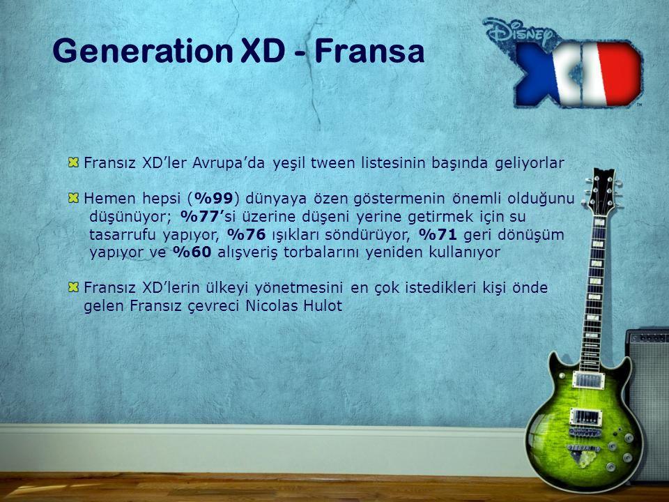 Fransız XD'ler Avrupa'da yeşil tween listesinin başında geliyorlar Hemen hepsi (%99) dünyaya özen göstermenin önemli olduğunu düşünüyor; %77'si üzerine düşeni yerine getirmek için su tasarrufu yapıyor, %76 ışıkları söndürüyor, %71 geri dönüşüm yapıyor ve %60 alışveriş torbalarını yeniden kullanıyor Fransız XD'lerin ülkeyi yönetmesini en çok istedikleri kişi önde gelen Fransız çevreci Nicolas Hulot Generation XD - Fran sa