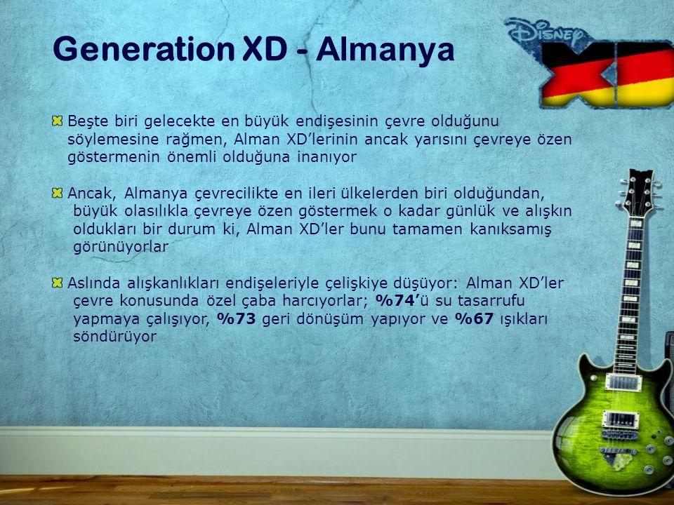 Generation XD - Almanya Beşte biri gelecekte en büyük endişesinin çevre olduğunu söylemesine rağmen, Alman XD'lerinin ancak yarısını çevreye özen göstermenin önemli olduğuna inanıyor Ancak, Almanya çevrecilikte en ileri ülkelerden biri olduğundan, büyük olasılıkla çevreye özen göstermek o kadar günlük ve alışkın oldukları bir durum ki, Alman XD'ler bunu tamamen kanıksamış görünüyorlar Aslında alışkanlıkları endişeleriyle çelişkiye düşüyor: Alman XD'ler çevre konusunda özel çaba harcıyorlar; %74'ü su tasarrufu yapmaya çalışıyor, %73 geri dönüşüm yapıyor ve %67 ışıkları söndürüyor
