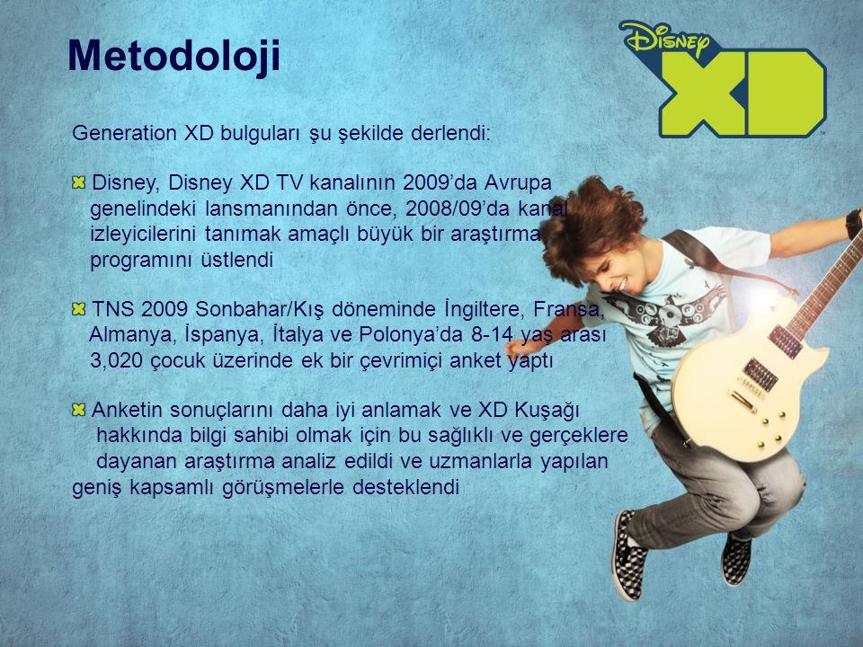 Generation XD bulguları şu şekilde derlendi: Disney, Disney XD TV kanalının 2009'da Avrupa genelindeki lansmanından önce, 2008/09'da kanal izleyicilerini tanımak amaçlı büyük bir araştırma programını üstlendi TNS 2009 Sonbahar/Kış döneminde İngiltere, Fransa, Almanya, İspanya, İtalya ve Polonya'da 8-14 yaş arası 3,020 çocuk üzerinde ek bir çevrimiçi anket yaptı Anketin sonuçlarını daha iyi anlamak ve XD Kuşağı hakkında bilgi sahibi olmak için bu sağlıklı ve gerçeklere dayanan araştırma analiz edildi ve uzmanlarla yapılan geniş kapsamlı görüşmelerle desteklendi Metodoloji