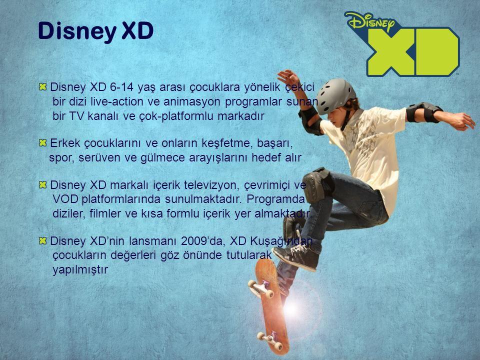 Disney XD 6-14 yaş arası çocuklara yönelik çekici bir dizi live-action ve animasyon programlar sunan bir TV kanalı ve çok-platformlu markadır Erkek çocuklarını ve onların keşfetme, başarı, spor, serüven ve gülmece arayışlarını hedef alır Disney XD markalı içerik televizyon, çevrimiçi ve VOD platformlarında sunulmaktadır.