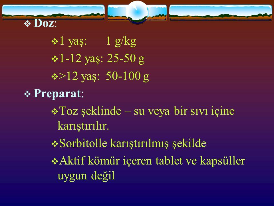  Doz:  1 yaş: 1 g/kg  1-12 yaş: 25-50 g  >12 yaş: 50-100 g  Preparat:  Toz şeklinde – su veya bir sıvı içine karıştırılır.  Sorbitolle karıştır