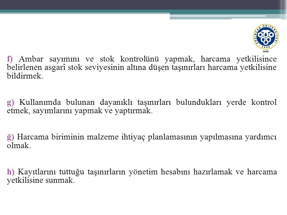 f) Ambar sayımını ve stok kontrolünü yapmak, harcama yetkilisince belirlenen asgarî stok seviyesinin altına düşen taşınırları harcama yetkilisine bild