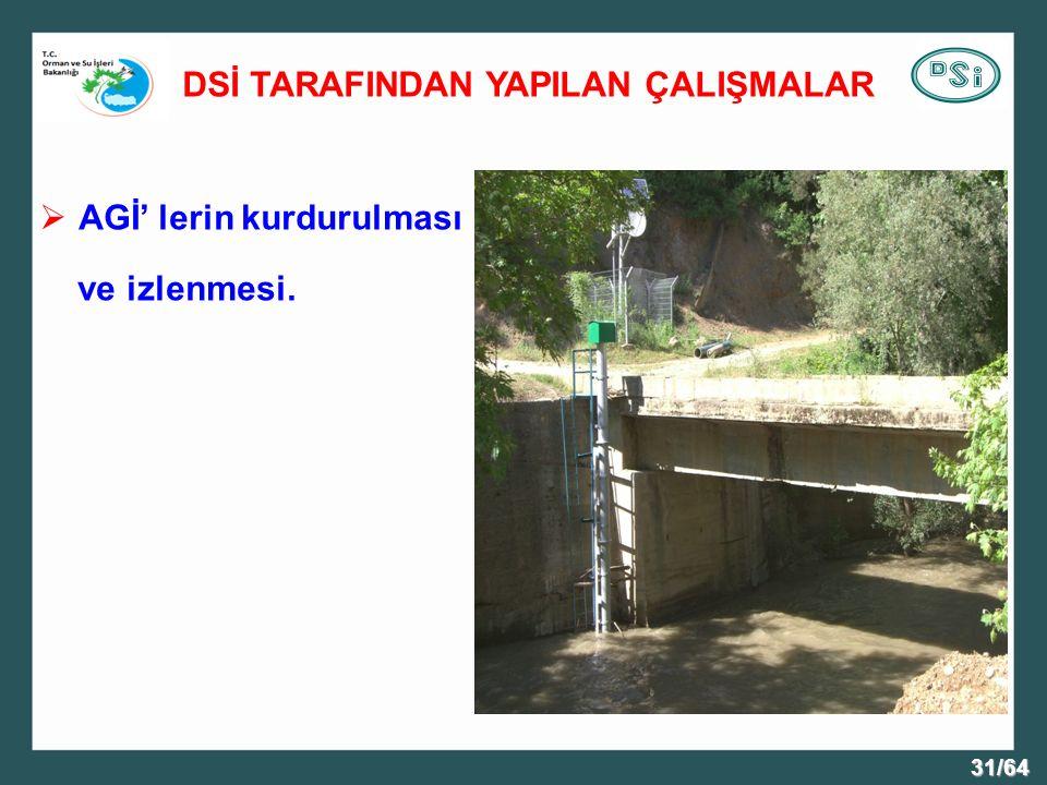 31/64 DSİ TARAFINDAN YAPILAN ÇALIŞMALAR  AGİ' lerin kurdurulması ve izlenmesi.