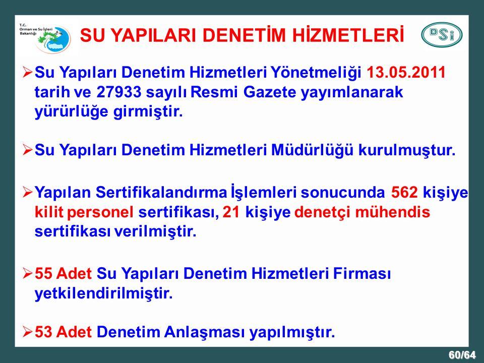 60/64 SU YAPILARI DENETİM HİZMETLERİ  Su Yapıları Denetim Hizmetleri Yönetmeliği 13.05.2011 tarih ve 27933 sayılı Resmi Gazete yayımlanarak yürürlüğe girmiştir.