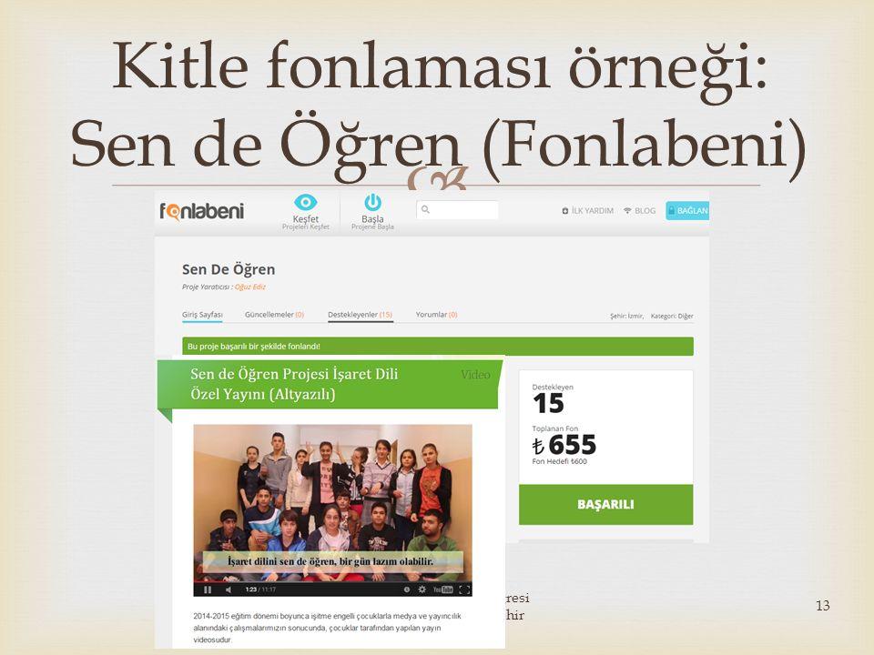  Kitle fonlaması örneği: Sen de Öğren (Fonlabeni) 20. Ulusal Pazarlama Kongresi 10-13 Haziran 2015 Eskişehir 13