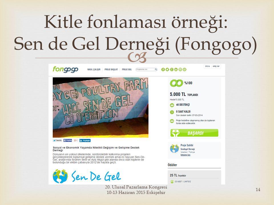  20. Ulusal Pazarlama Kongresi 10-13 Haziran 2015 Eskişehir 14 Kitle fonlaması örneği: Sen de Gel Derneği (Fongogo)