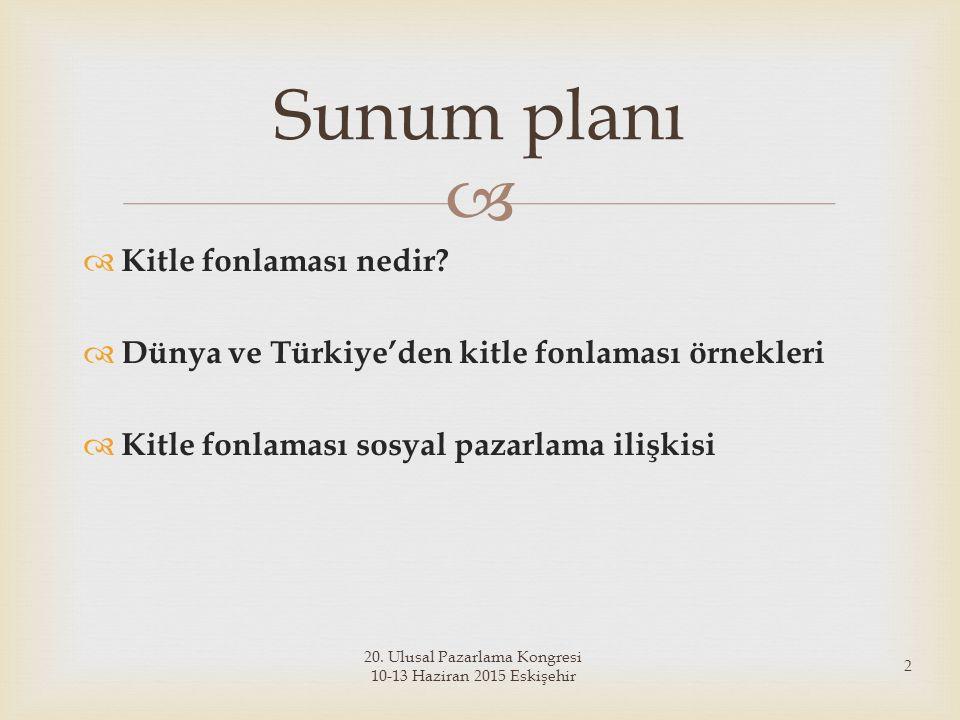   Kitle fonlaması nedir?  Dünya ve Türkiye'den kitle fonlaması örnekleri  Kitle fonlaması sosyal pazarlama ilişkisi Sunum planı 20. Ulusal Pazarla