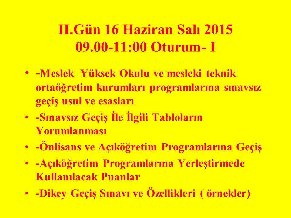 II.Gün 16 Haziran Salı 2015 09.00-11:00 Oturum- I - Meslek Yüksek Okulu ve mesleki teknik ortaöğretim kurumları programlarına sınavsız geçiş usul ve e