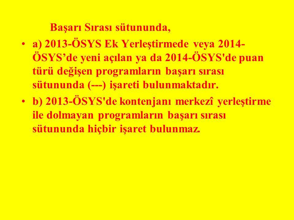 Başarı Sırası sütununda, a) 2013-ÖSYS Ek Yerleştirmede veya 2014- ÖSYS'de yeni açılan ya da 2014-ÖSYS'de puan türü değişen programların başarı sırası