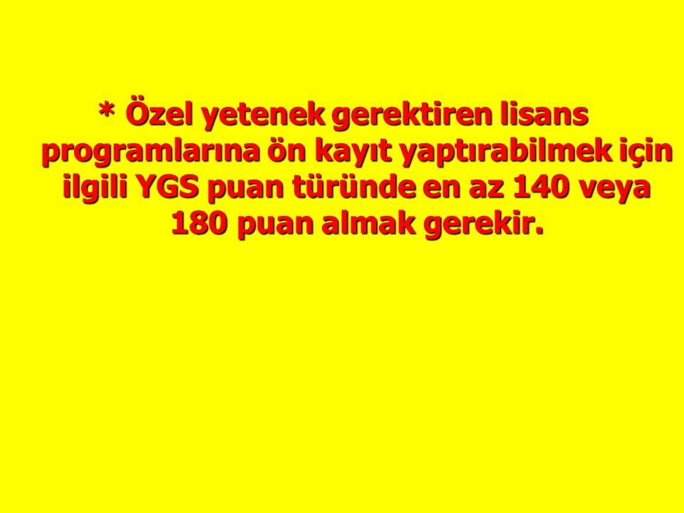 * Yerleştirmede meslek lisesi çıkışlı adayların ek puan verilen lisans programlarını tercih edebilmeleri için ilgili YGS puan türünde en az 180 puan alması gerekir.