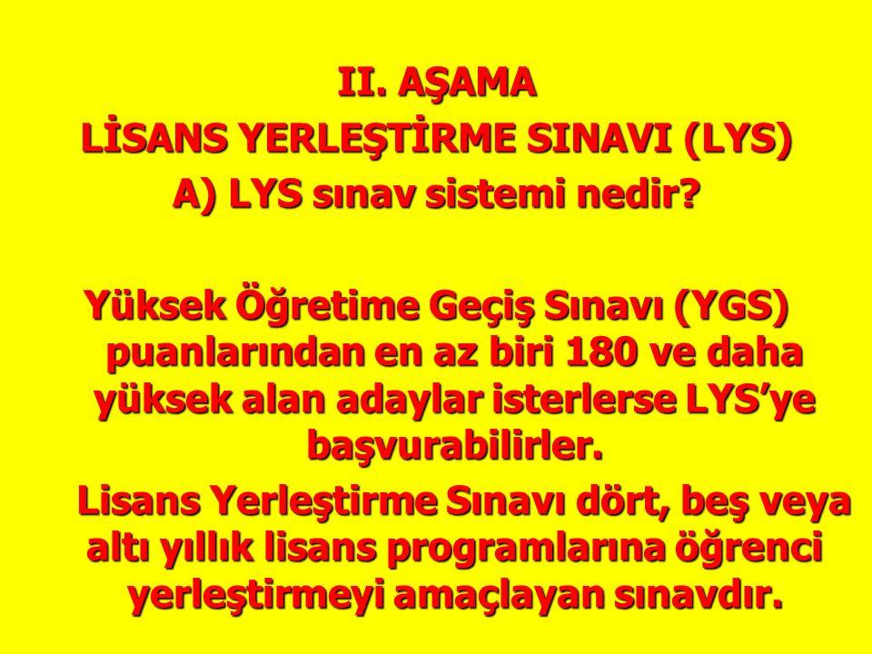 II. AŞAMA LİSANS YERLEŞTİRME SINAVI (LYS) A) LYS sınav sistemi nedir? Yüksek Öğretime Geçiş Sınavı (YGS) puanlarından en az biri 180 ve daha yüksek al