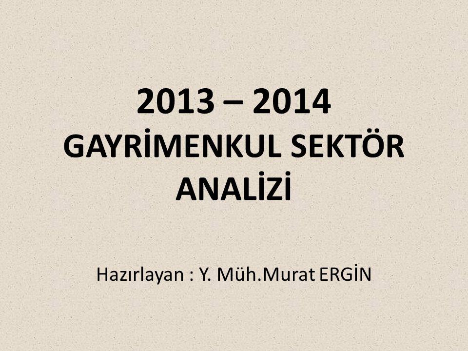 2013 – 2014 GAYRİMENKUL SEKTÖR ANALİZİ Hazırlayan : Y. Müh.Murat ERGİN
