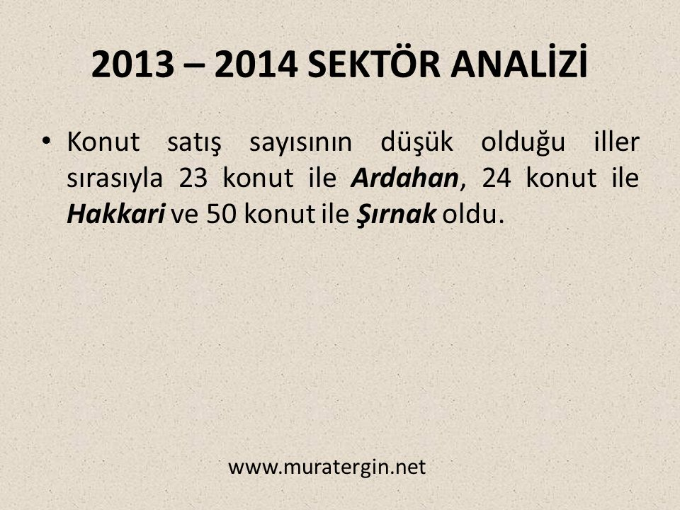2013 – 2014 SEKTÖR ANALİZİ Konut satış sayısının düşük olduğu iller sırasıyla 23 konut ile Ardahan, 24 konut ile Hakkari ve 50 konut ile Şırnak oldu.