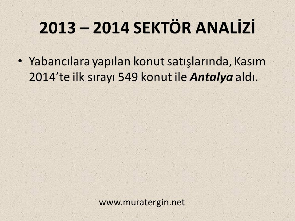 2013 – 2014 SEKTÖR ANALİZİ Yabancılara yapılan konut satışlarında, Kasım 2014'te ilk sırayı 549 konut ile Antalya aldı.