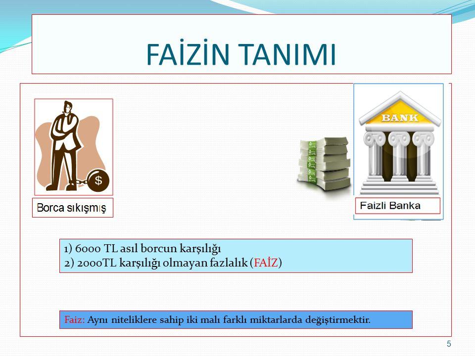 FAİZİN TANIMI 1) 100 kg asıl borcun karşılığı 2) 10 kg karşılığı olmayan fazlalık (FAİZ) 6