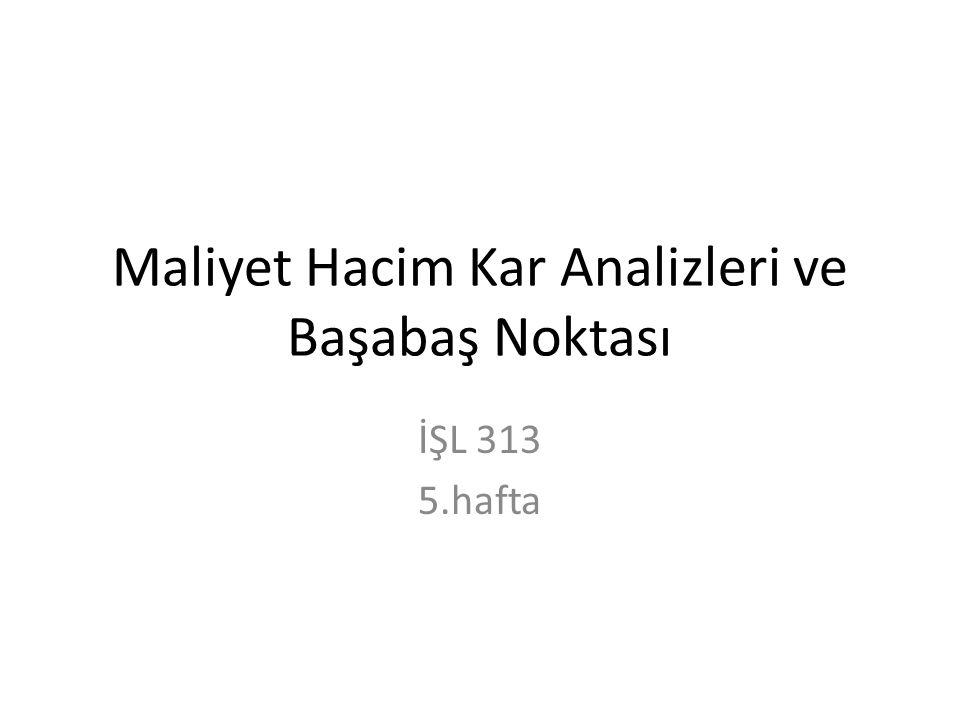 Maliyet Hacim Kar Analizleri ve Başabaş Noktası İŞL 313 5.hafta