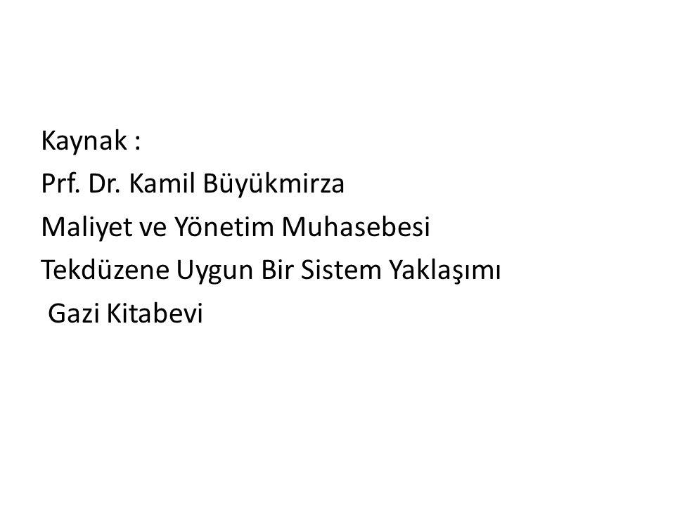 Kaynak : Prf. Dr. Kamil Büyükmirza Maliyet ve Yönetim Muhasebesi Tekdüzene Uygun Bir Sistem Yaklaşımı Gazi Kitabevi
