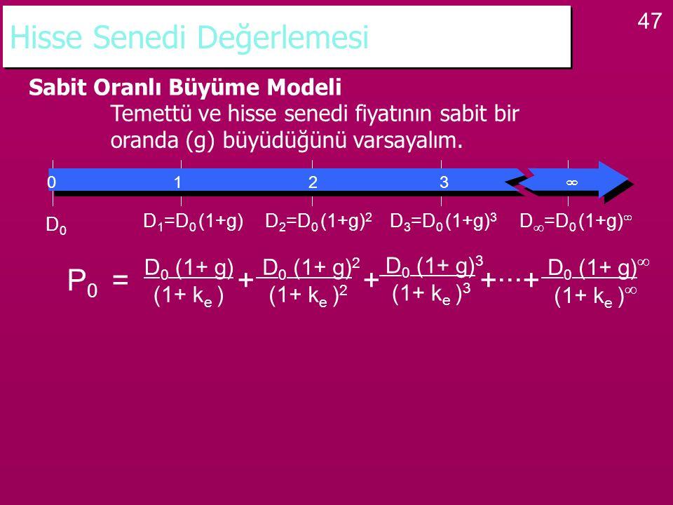 47 Hisse Senedi Değerlemesi Sabit Oranlı Büyüme Modeli Temettü ve hisse senedi fiyatının sabit bir oranda (g) büyüdüğünü varsayalım. P 0 = + + +···+ D