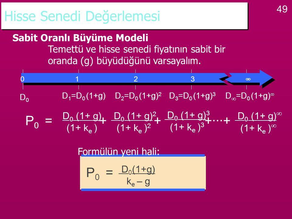 49 Hisse Senedi Değerlemesi Sabit Oranlı Büyüme Modeli Temettü ve hisse senedi fiyatının sabit bir oranda (g) büyüdüğünü varsayalım. P 0 = + + +···+ D