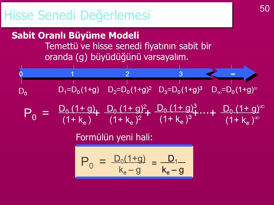 50 Hisse Senedi Değerlemesi Sabit Oranlı Büyüme Modeli Temettü ve hisse senedi fiyatının sabit bir oranda (g) büyüdüğünü varsayalım. P 0 = + + +···+ D