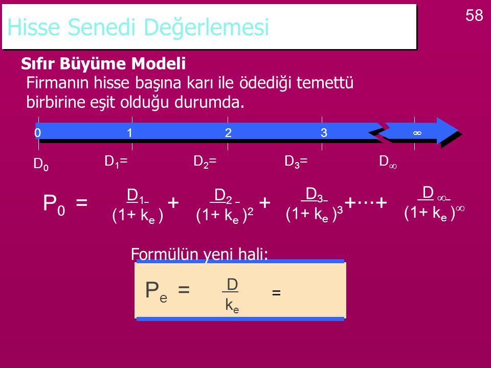 58 Hisse Senedi Değerlemesi Sıfır Büyüme Modeli Firmanın hisse başına karı ile ödediği temettü birbirine eşit olduğu durumda. P 0 = + + +···+ D 1 (1+