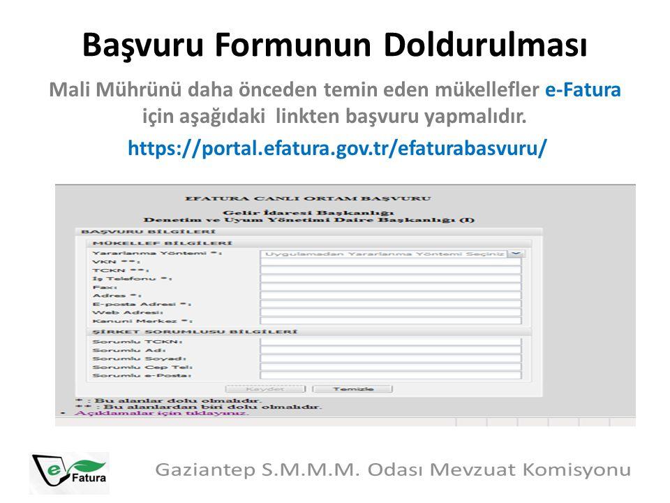 Başvuru Formunun Doldurulması Mali Mührünü daha önceden temin eden mükellefler e-Fatura için aşağıdaki linkten başvuru yapmalıdır. https://portal.efat
