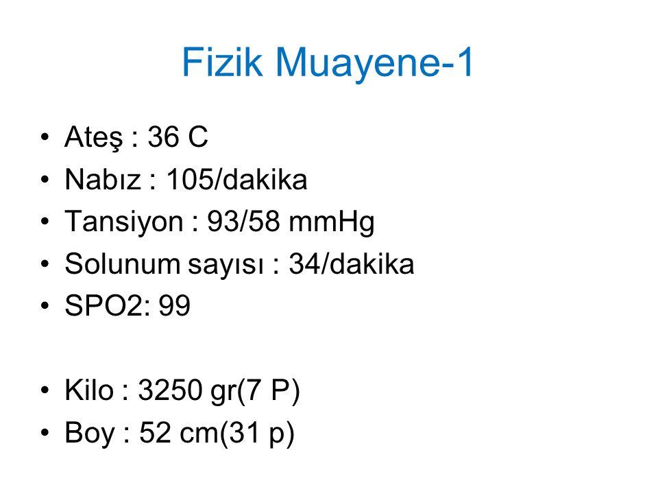 Fizik Muayene-1 Ateş : 36 C Nabız : 105/dakika Tansiyon : 93/58 mmHg Solunum sayısı : 34/dakika SPO2: 99 Kilo : 3250 gr(7 P) Boy : 52 cm(31 p)