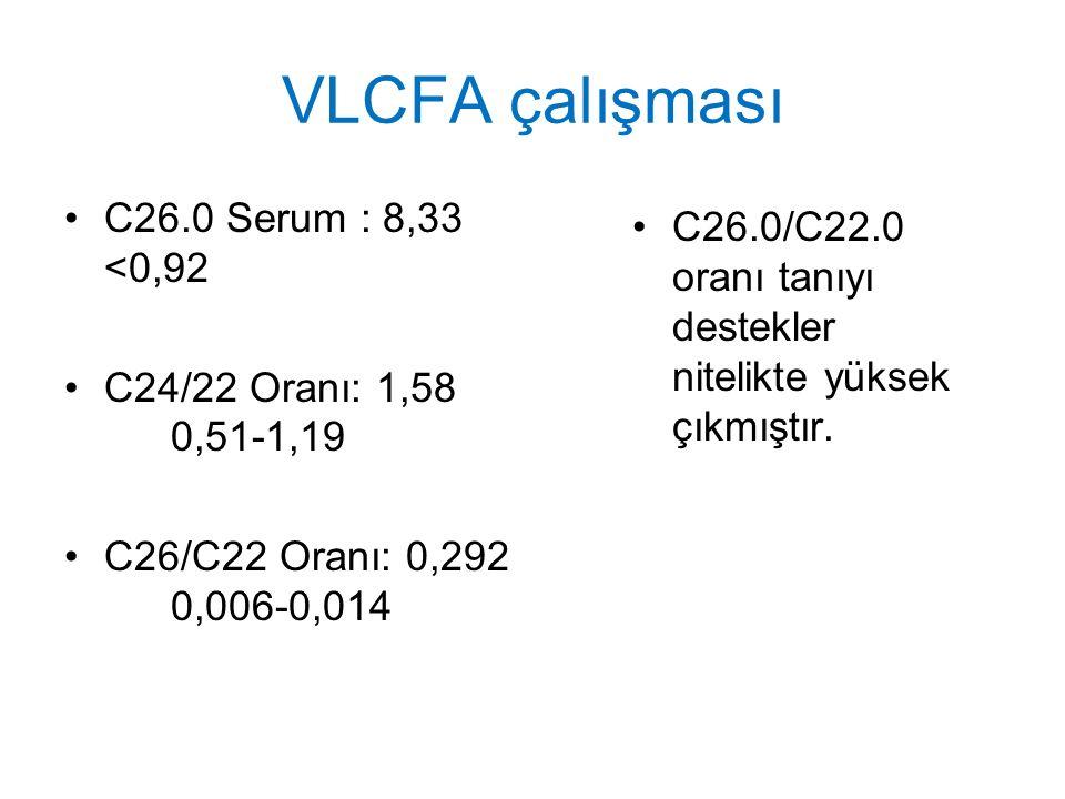 VLCFA çalışması C26.0 Serum : 8,33 <0,92 C24/22 Oranı: 1,58 0,51-1,19 C26/C22 Oranı: 0,292 0,006-0,014 C26.0/C22.0 oranı tanıyı destekler nitelikte yü