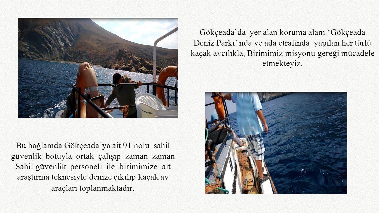 Bu bağlamda Gökçeada'ya ait 91 nolu sahil güvenlik botuyla ortak çalışıp zaman zaman Sahil güvenlik personeli ile birimimize ait araştırma teknesiyle
