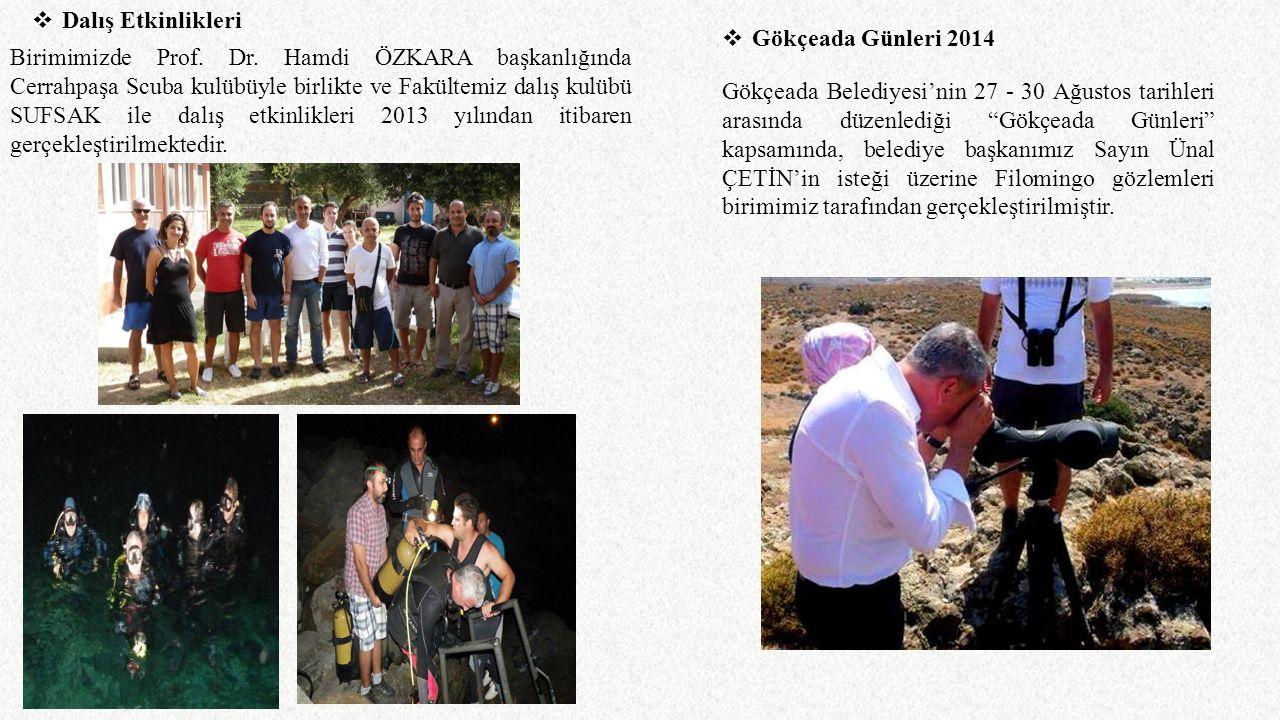 Birimimizde Prof. Dr. Hamdi ÖZKARA başkanlığında Cerrahpaşa Scuba kulübüyle birlikte ve Fakültemiz dalış kulübü SUFSAK ile dalış etkinlikleri 2013 yıl