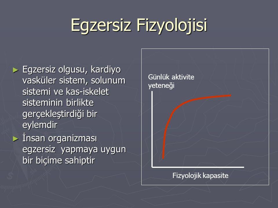 Enerji kaynakları ► Vücut ATP'yi depolayamaz, Bu nedenle egzersiz sırasında düzenli ve sürekli olarak ATP yapılması gerekir ► Vücudun gıdaları enerjiye çevirdiği iki önemli yol vardır:  Aerobik metabolizma (oksijen ile)  Anaerobik metabolizma (oksijensiz) ► Bu iki ana yol da bolümlere ayrılabilir ► Egzersiz sırasında enerji ihtiyacı bu sistemlerin kombinasyonu ile sağlanır ► Hangi yolun ne zaman kullanılacağı egzersizin şiddetine ve süresine bağlı olarak belirlenir