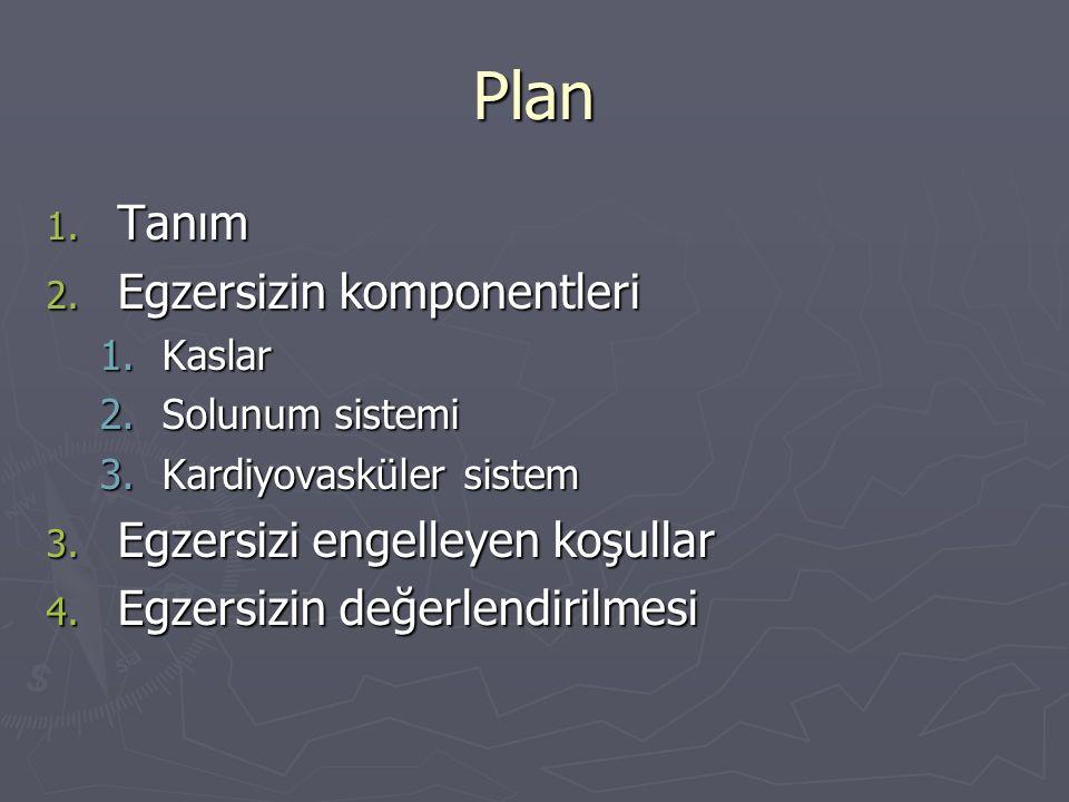 Plan 1.Tanım 2. Egzersizin komponentleri 1.Kaslar 2.Solunum sistemi 3.Kardiyovasküler sistem 3.