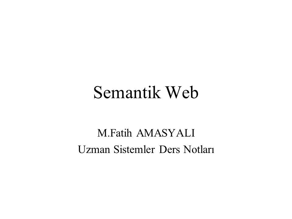 Ders içeriği Semantik Web mimarisi Ontolojiler Uzman sistemler Semantik Web ilişkisi