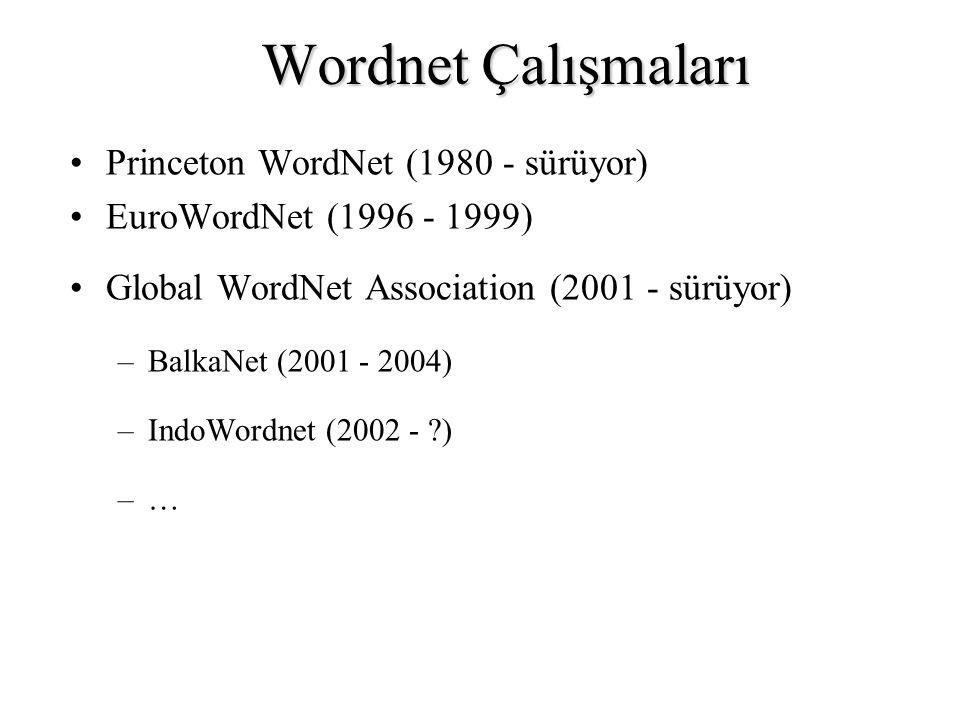 Wordnet Çalışmaları Princeton WordNet (1980 - sürüyor) EuroWordNet (1996 - 1999) Global WordNet Association (2001 - sürüyor) –BalkaNet (2001 - 2004) –IndoWordnet (2002 - ?) –…