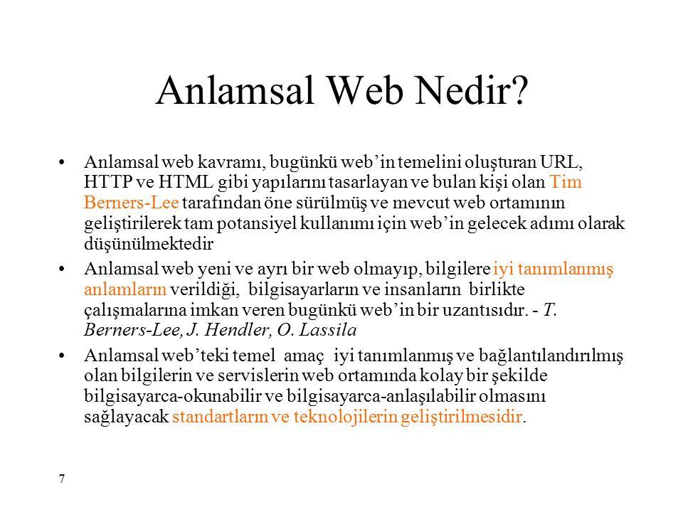 Semantik Web ve Uzman Sistemler ilişkisi Semantik ağ, bir çeşit zayıf yapay zekadır.