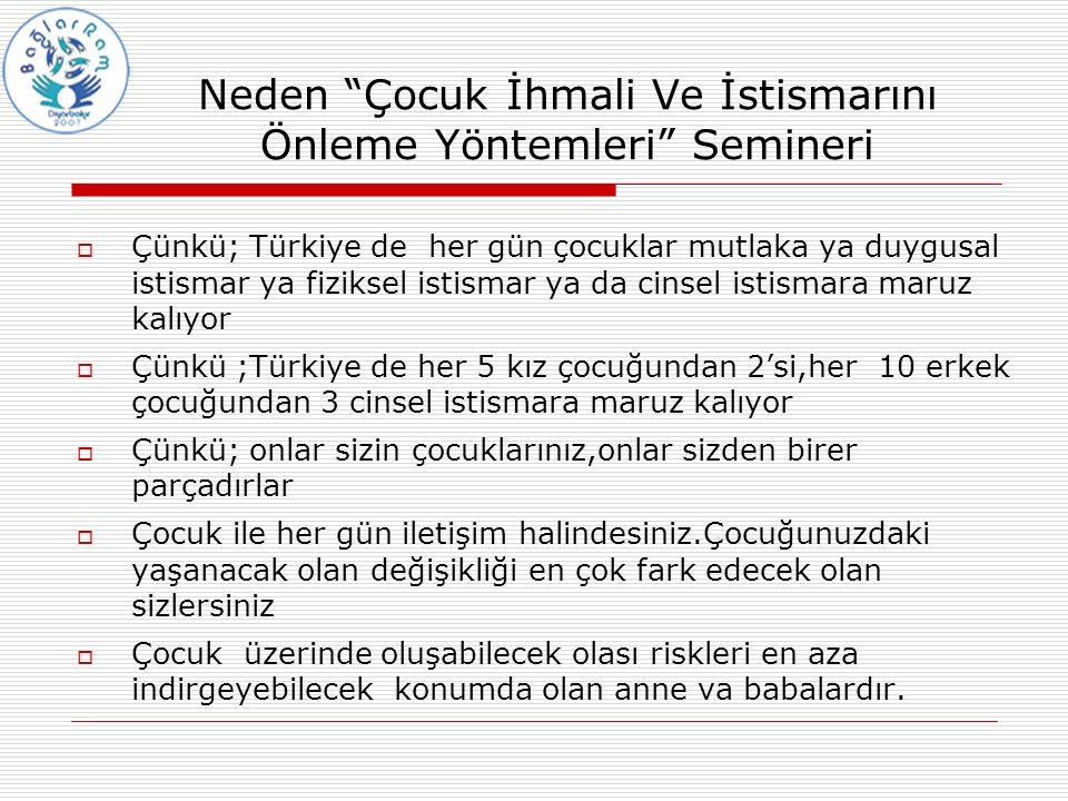 """Neden """"Çocuk İhmali Ve İstismarını Önleme Yöntemleri"""" Semineri  Çünkü; Türkiye de her gün çocuklar mutlaka ya duygusal istismar ya fiziksel istismar"""