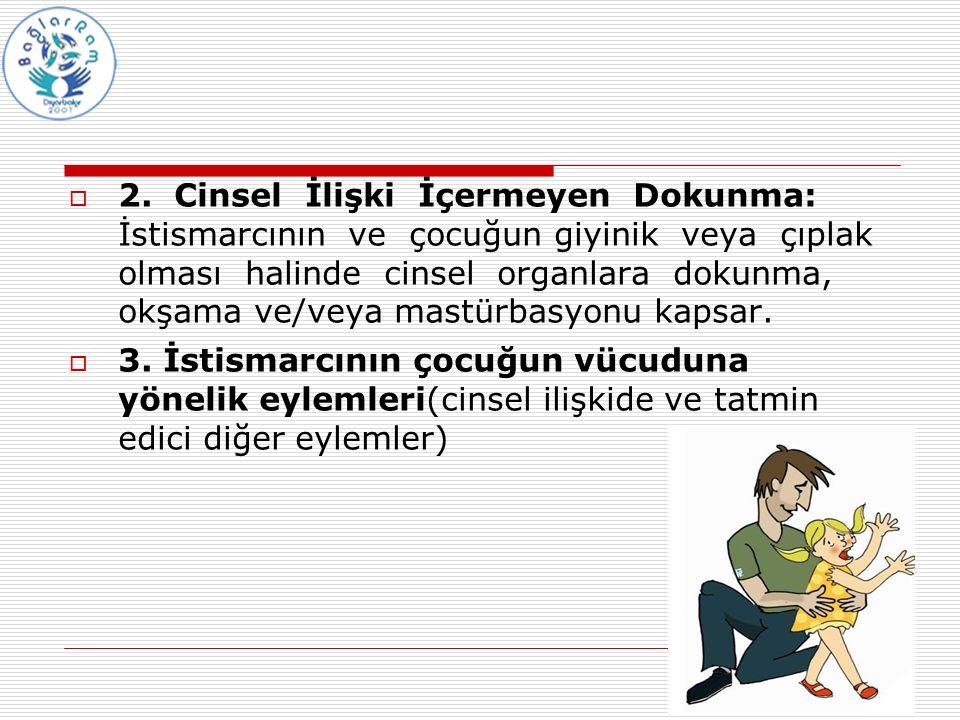  2. Cinsel İlişki İçermeyen Dokunma: İstismarcının ve çocuğun giyinik veya çıplak olması halinde cinsel organlara dokunma, okşama ve/veya mastürbasyo