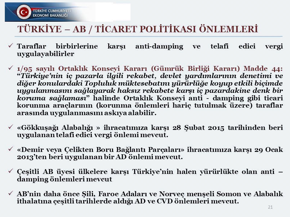 TÜRKİYE – AB / TİCARET POLİTİKASI ÖNLEMLERİ 21 Taraflar birbirlerine karşı anti-damping ve telafi edici vergi uygulayabilirler 1/95 sayılı Ortaklık Konseyi Kararı (Gümrük Birliği Kararı) Madde 44: Türkiye nin iç pazarla ilgili rekabet, devlet yardımlarının denetimi ve diğer konulardaki Topluluk müktesebatını yürürlüğe koyup etkili biçimde uygulanmasını sağlayarak haksız rekabete karşı iç pazardakine denk bir koruma sağlaması halinde Ortaklık Konseyi anti - damping gibi ticari korunma araçlarının (korunma önlemleri hariç tutulmak üzere) taraflar arasında uygulanmasını askıya alabilir.