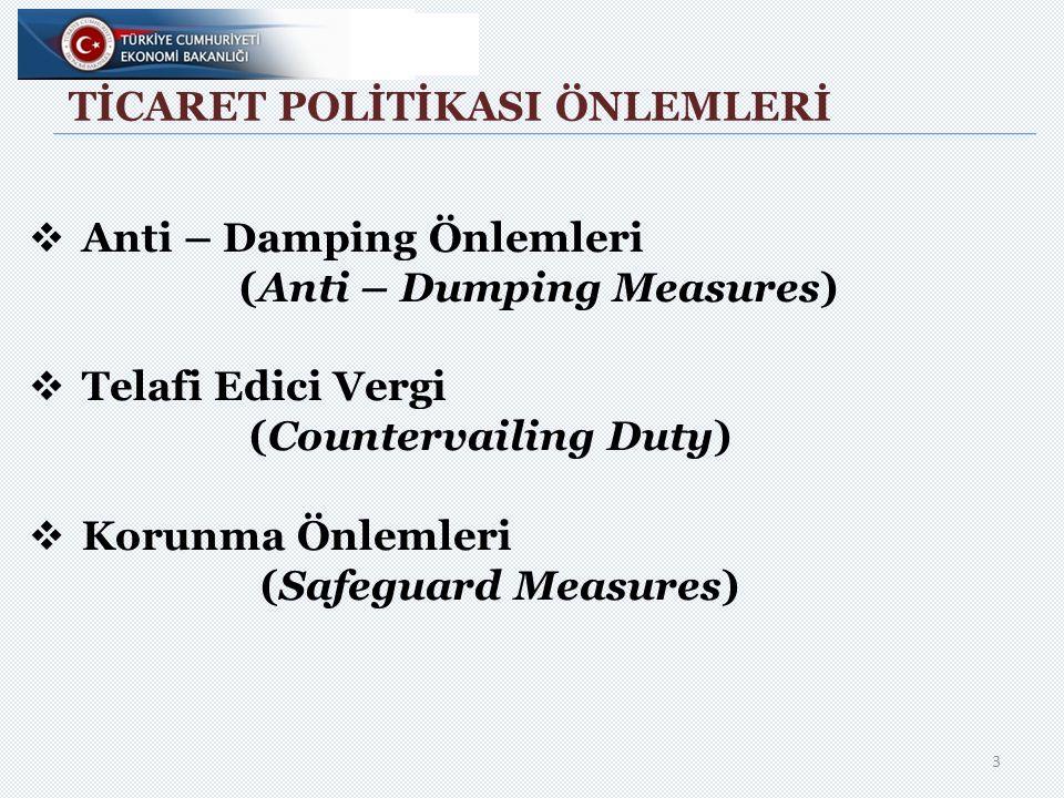 TİCARET POLİTİKASI ÖNLEMLERİ  Anti – Damping Önlemleri (Anti – Dumping Measures)  Telafi Edici Vergi (Countervailing Duty)  Korunma Önlemleri (Safeguard Measures) 3