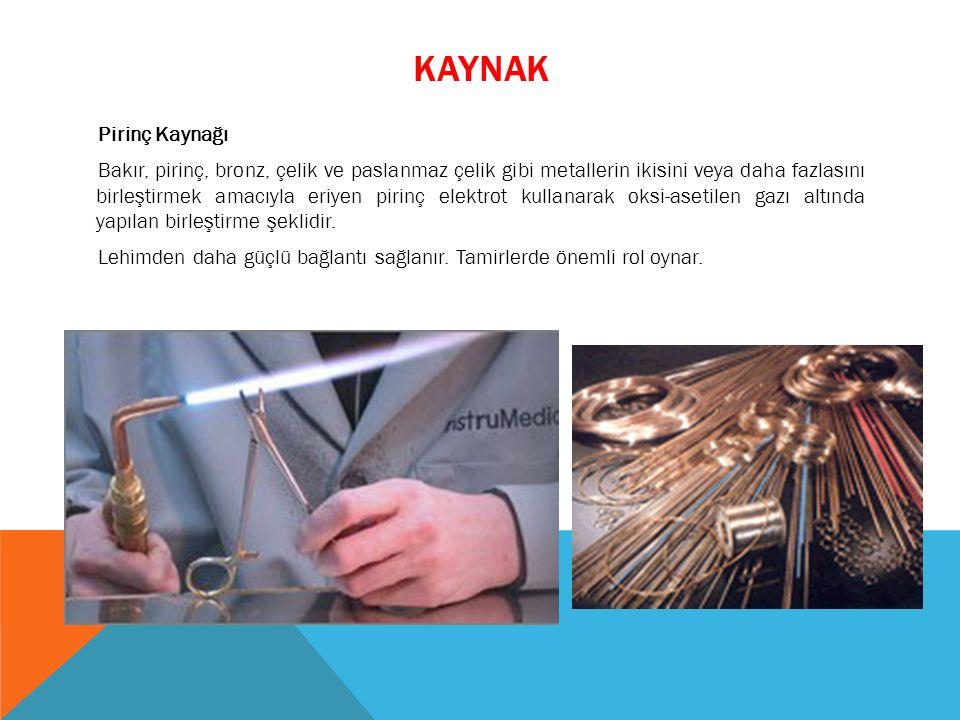Pirinç Kaynağı Bakır, pirinç, bronz, çelik ve paslanmaz çelik gibi metallerin ikisini veya daha fazlasını birleştirmek amacıyla eriyen pirinç elektrot