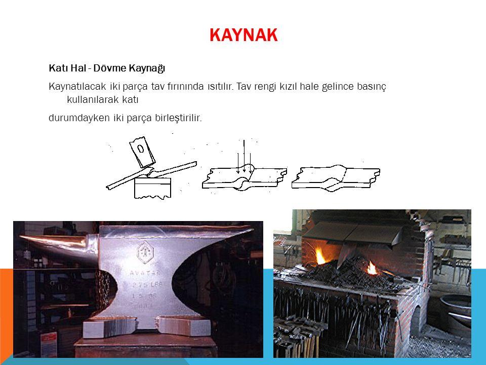 Katı Hal - Dövme Kaynağı Kaynatılacak iki parça tav fırınında ısıtılır. Tav rengi kızıl hale gelince basınç kullanılarak katı durumdayken iki parça bi