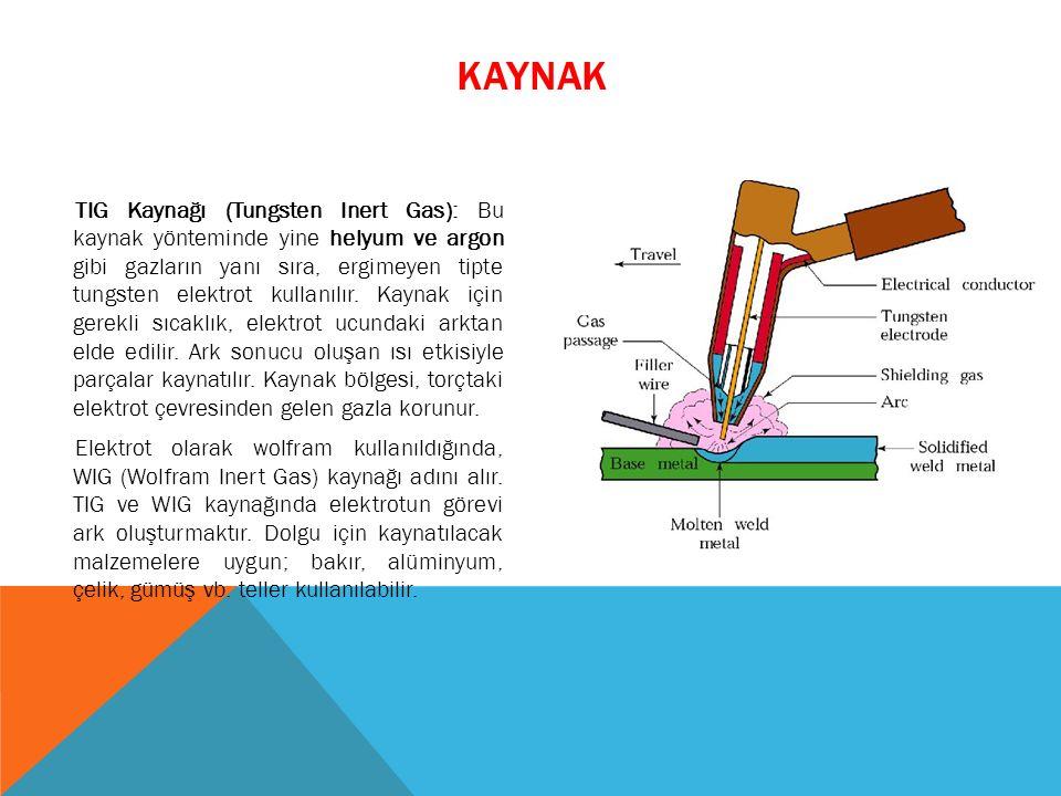 TIG Kaynağı (Tungsten Inert Gas): Bu kaynak yönteminde yine helyum ve argon gibi gazların yanı sıra, ergimeyen tipte tungsten elektrot kullanılır. Kay