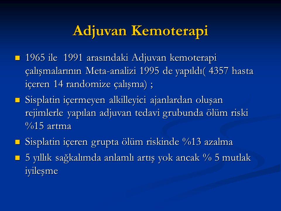 Adjuvan Kemoterapi 1965 ile 1991 arasındaki Adjuvan kemoterapi çalışmalarının Meta-analizi 1995 de yapıldı( 4357 hasta içeren 14 randomize çalışma) ;