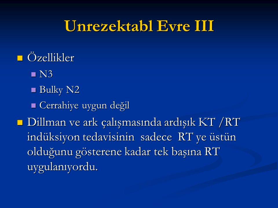Unrezektabl Evre III Özellikler Özellikler N3 N3 Bulky N2 Bulky N2 Cerrahiye uygun değil Cerrahiye uygun değil Dillman ve ark çalışmasında ardışık KT