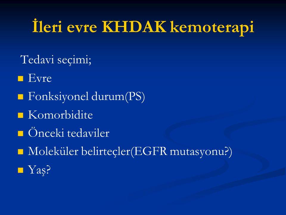 İleri evre KHDAK kemoterapi Tedavi seçimi; Evre Fonksiyonel durum(PS) Komorbidite Önceki tedaviler Moleküler belirteçler(EGFR mutasyonu?) Yaş?