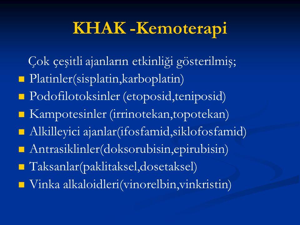 KHAK -Kemoterapi Çok çeşitli ajanların etkinliği gösterilmiş; Platinler(sisplatin,karboplatin) Podofilotoksinler (etoposid,teniposid) Kampotesinler (i
