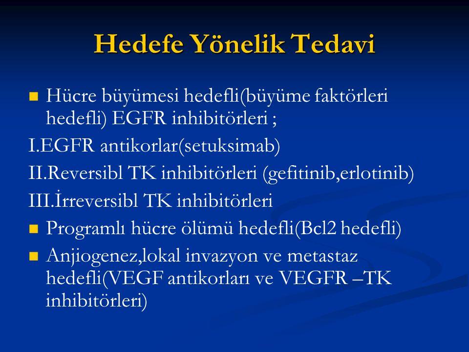 Hedefe Yönelik Tedavi Hücre büyümesi hedefli(büyüme faktörleri hedefli) EGFR inhibitörleri ; I.EGFR antikorlar(setuksimab) II.Reversibl TK inhibitörle