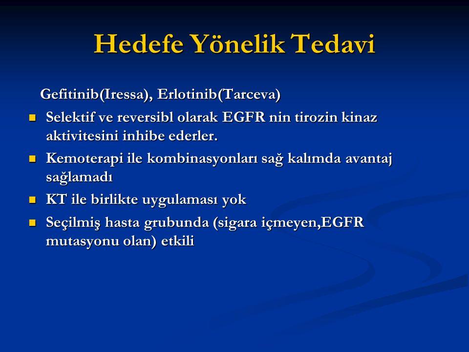 Hedefe Yönelik Tedavi Gefitinib(Iressa), Erlotinib(Tarceva) Gefitinib(Iressa), Erlotinib(Tarceva) Selektif ve reversibl olarak EGFR nin tirozin kinaz