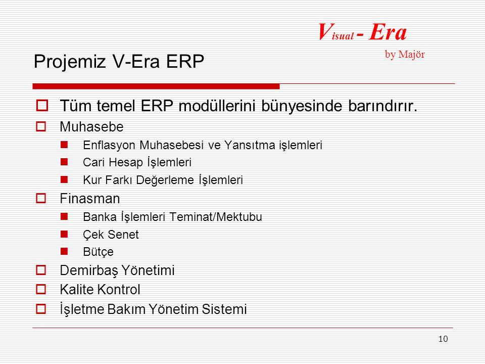10 Projemiz V-Era ERP  Tüm temel ERP modüllerini bünyesinde barındırır.  Muhasebe Enflasyon Muhasebesi ve Yansıtma işlemleri Cari Hesap İşlemleri Ku